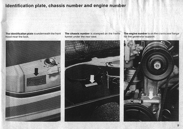 9 | Identification plate, chassis number and engine number